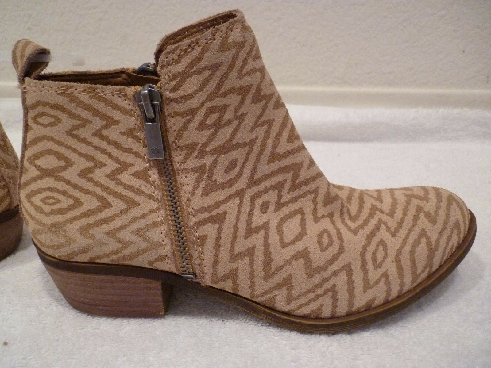LUCKY BRAND BASEL zip up ankle Stiefel braun stripe  128 SZ 36.5 6.5-NEW