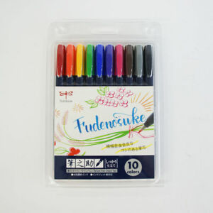 Tombow-WS-BH10C-Fudenosuke-Water-based-Brush-Pen-Hard-10-Color-Set