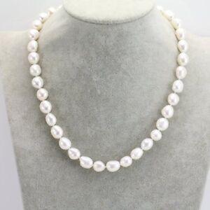 Gross-Barock-Perle-Halskette-11-12-mm-Weiss-Suesswasser-Perle-Halskette