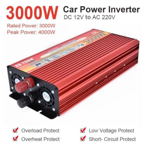 Portable Car LED Power Inverter 6000W DC 12V to AC 220V USB Charger Converter