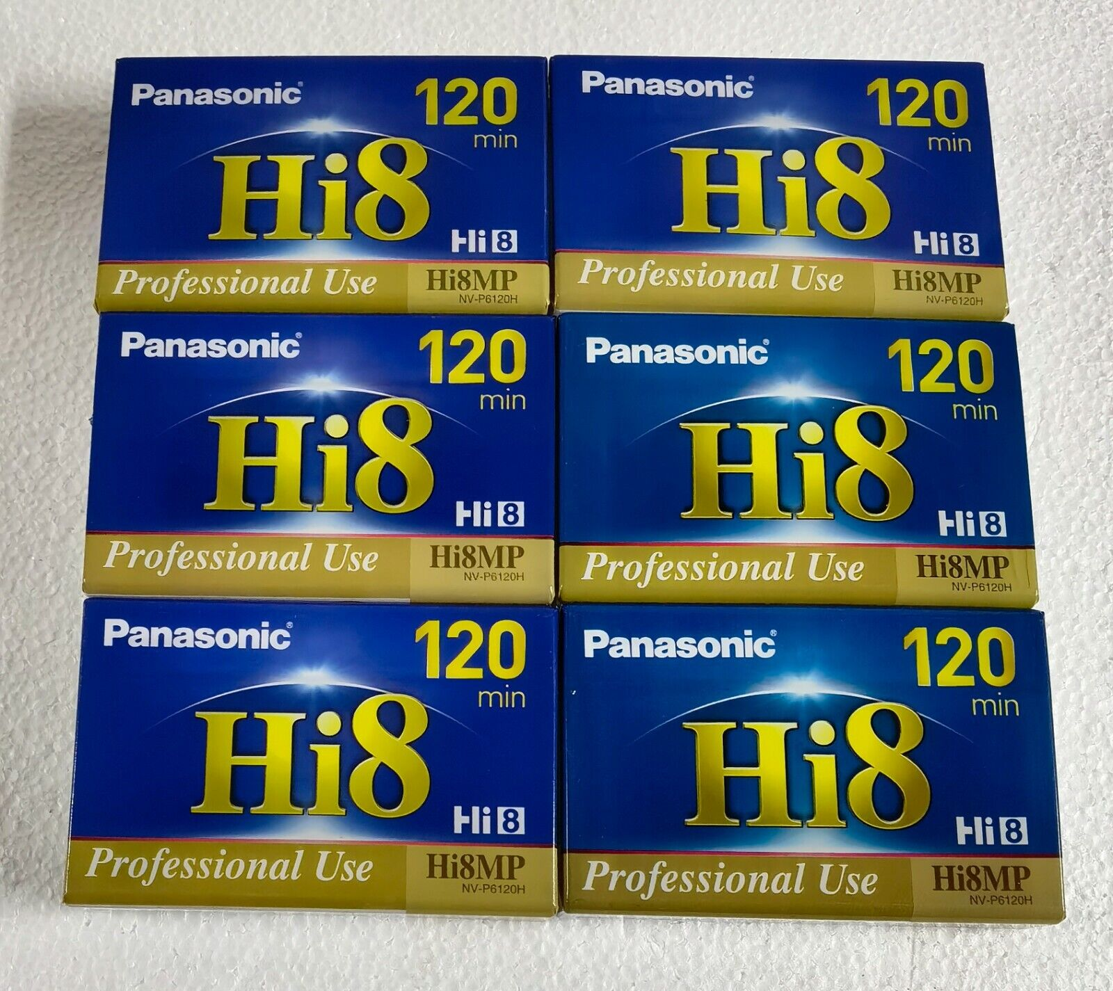6 PANASONIC 8MM CAMCORDER VIDEO TAPE HI8 120 PROFESSIONAL USE HI8MP