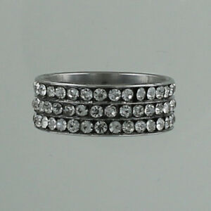 Rhinestone-Band-Ring-Stainless-Steel-Bling-Pave-Wide-Stones-Clear-Three-Rows