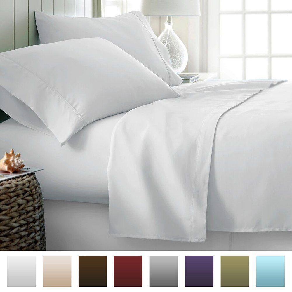 All Size Bedding Items (15  Drop) 100% Egyptian Cotton 1000 TC White Solid