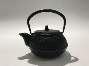 Japanese-Iron-Tea-Kettle-Vtg-Pot-Signed-Nambu-Ironware-Lidded-Matcya-Sencya-j074