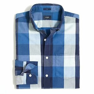 J-Crew-Factory-Men-039-s-S-Slim-Fit-NWT-Blue-Navy-Gingham-Check-Button-Down-Shirt