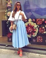 Zara Blue Poplin Long Midi Skirt Size Xs S M L Ref 3440 243