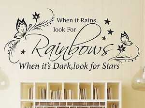 When It Rains Look For Rainbows Children Wall Decal Vinyl Decorations for Boys Bedroom Playroom or Study Area