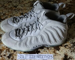 6237206848a NIKE AIR FOAMPOSITE ONE PRO WOLF GREY SUEDE SIZE 7Y HOLOGRAM SILVER ...