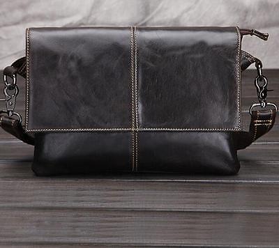 Mens Genuine Leather Briefcase Shoulder Messenger School Hiking Bag Satchel O