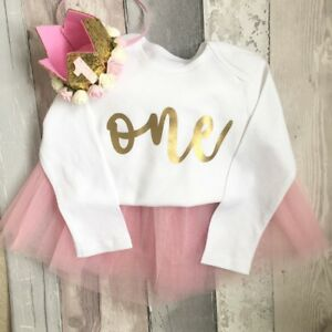 Luxury Girls 1st First Birthday Cake Smash Vest Top Outfit Set Rose Gold 9-12m
