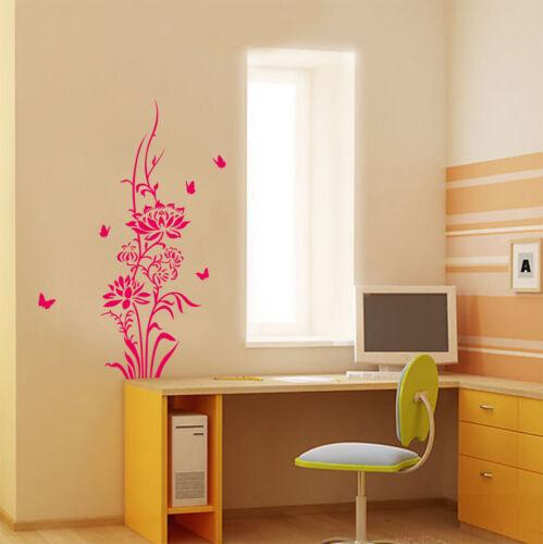Fleur de lotus /& Papillons Mur Autocollant Mural Vinyle Art Mur autocollant-Haute Qualité