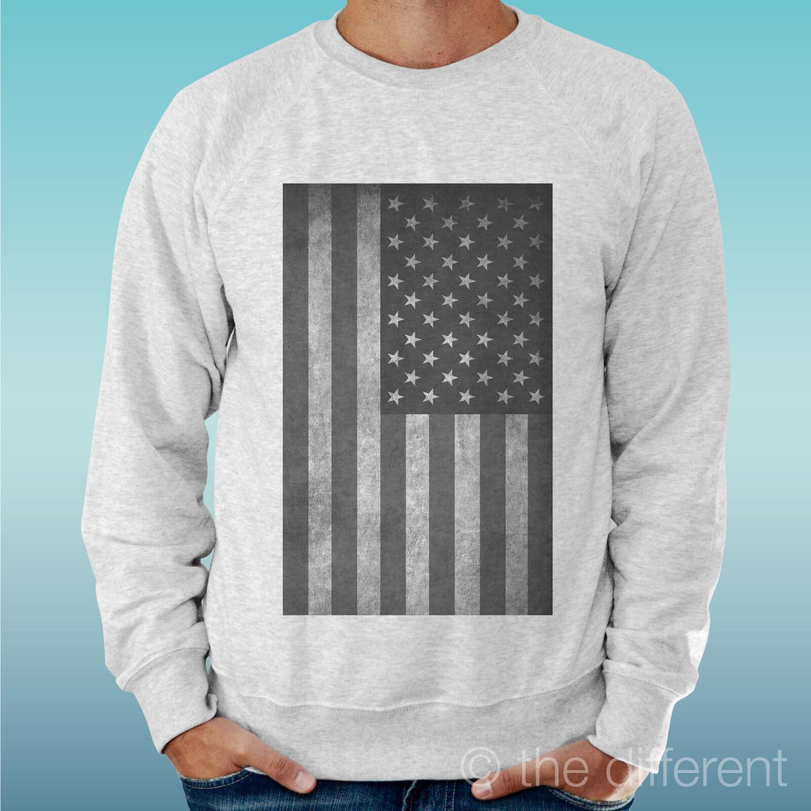 MEN'S SWEATSHIRT LIGHT SWEATER LIGHT GREY GREY   AMERICAN FLAG FLAG AMERICA