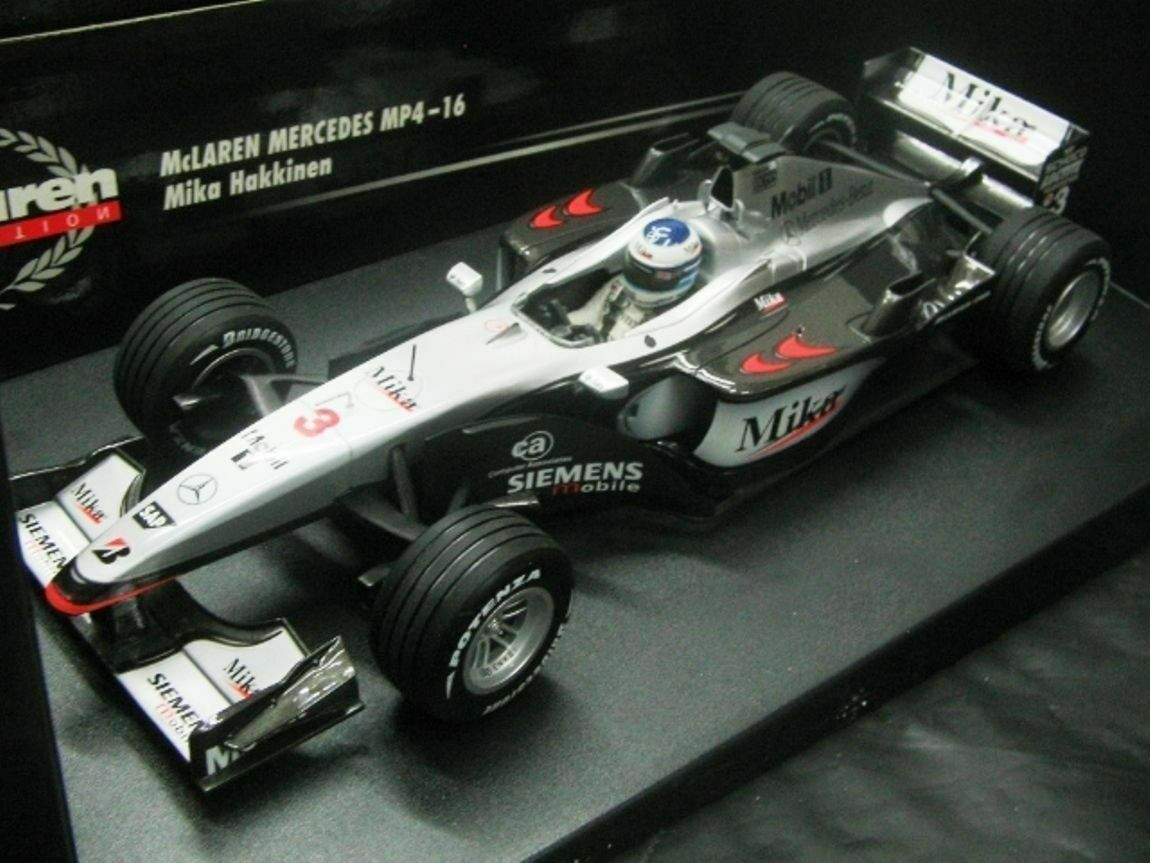 WOW EXTREMELY RARE McLaren MP4 16 Hakkinen British GP 2001 1 18 Minichamps