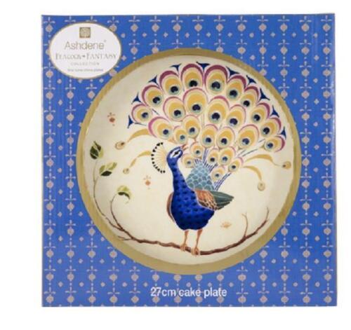 Ashdene Australia Peacock Fantasy Paisley Bone China Cake Plate Gift Boxed