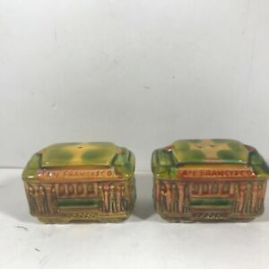 Vintage Ceramic San Francisco Trolley Cable Car Salt Pepper Shakers