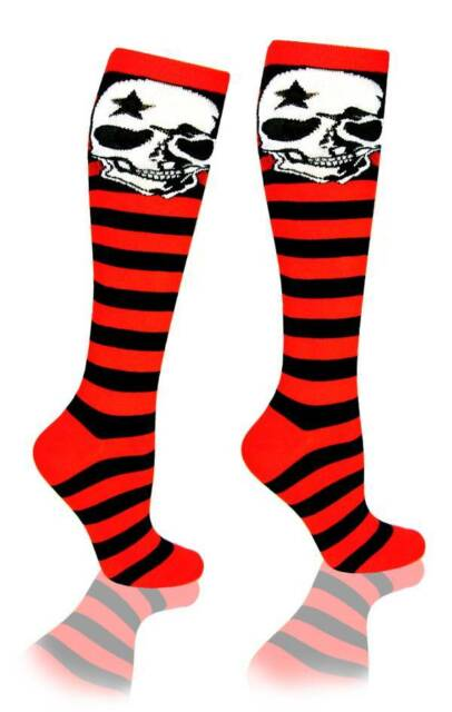 Skull Red and Black Knee High Striped Cotton Socks Costume Roller Derby Sports