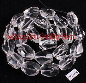12x16mm-Natural-Faceted-Freeform-Rock-Crystal-Quartz-Gemstone-Beads-Strand-15-034