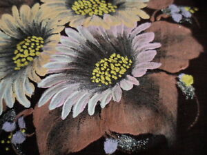 VINTAGE-HAND-PAINTED-HANDPAINTED-BROWN-SILK-SCARF-WITH-DAISY-FLOWERS