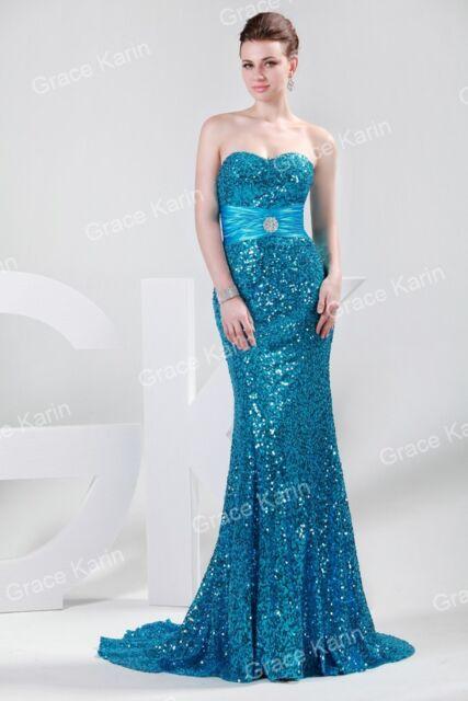 Sequins + mermaid long prom dresses Bridesmaid WEDDING Formal Evening Party PLUS