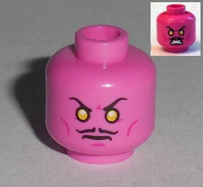 Frown NEW Sinestro Orange Eyes HEAD MF020 Lego Male Dark Pink w//Moustache