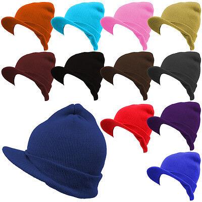 Winter Plain Visor Beanies Hat Ski Knitted Cap Skull Unisex 12 Colors *Pick 1