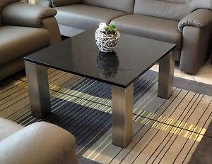 couchtisch beistelltisch platte schwarz granit marmor edelstahlgestell matt ebay