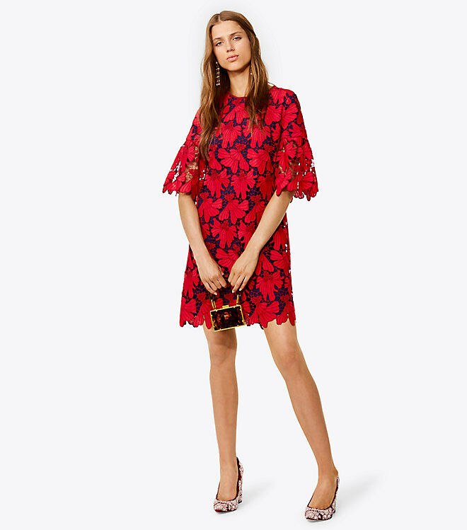 Tory Burch Nicola Giurpure Lace Lace Lace Dress Tunic Red XL RARE 14 NWT  595 5354a8