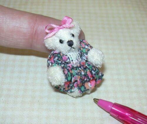 """1 3//8/"""" Tall Miniature White Fuzzy Bear in PINK Calico Dress DOLLHOUSE 1:12"""