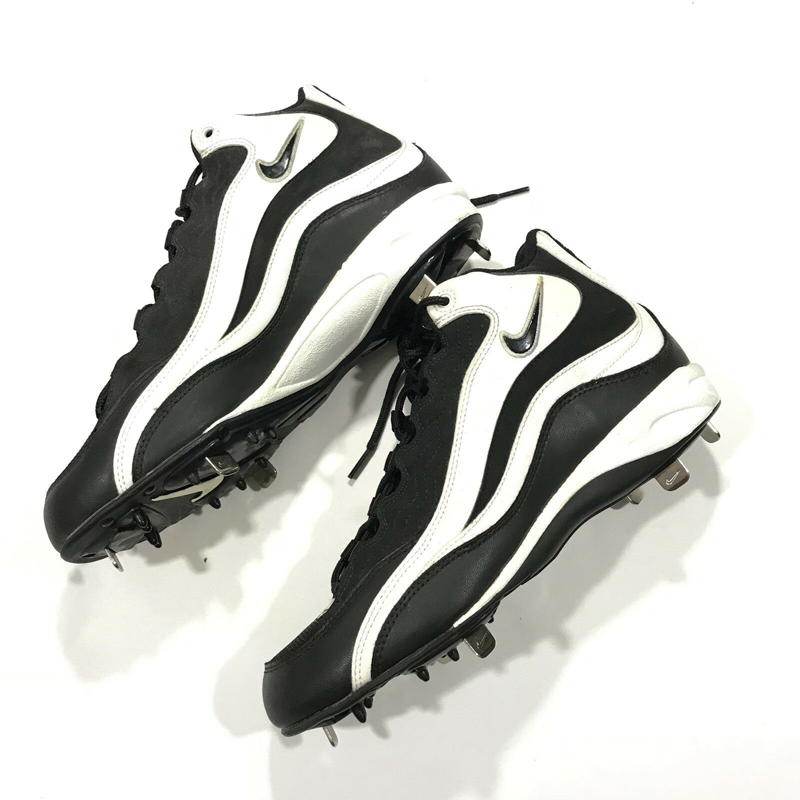 Vintage 90s Nike Baseball Cleats Size 9 Rare Black White Metal Spikes