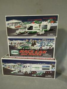LOT 3 HESS VINTAGE TRUCKS & RACE CARS - UNOPENED IN BOXES 2001, 2003, 2009