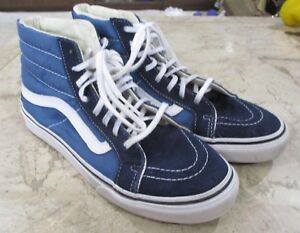 Details about VANS OFF THE WALL Blue Suede High Top SKATEBOARD Shoe US Men's 6.5 Womens 8
