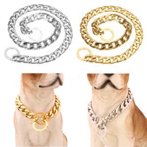 14-26-034-Oro-Plata-perro-estrangulador-collar-de-Cadena-de-Acero-Inoxidable-Bordillo-Lin-Mascota-UK