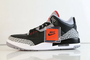 low cost 0aa85 3a79d Image is loading Air-Jordan-Retro-3-OG-Black-Cement-Fire-