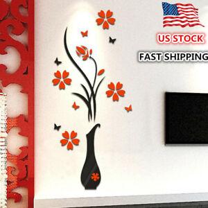 Modern 3D Flower Mirror Wall Sticker Art DIY Decal Decor Mural Decor Removable