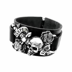 Black Consort Alchemy Pewter and Leather Wriststrap Bracelet