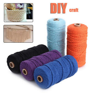 3mm-x100m-Natural-Cotton-Twisted-Cord-Rope-Craft-Macrame-Artisan-String-New