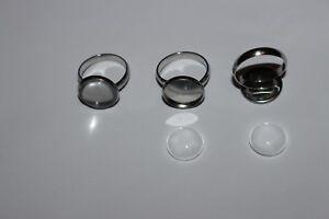 Support bague réglable argenté pour cabochon de 20mm quantité au choix