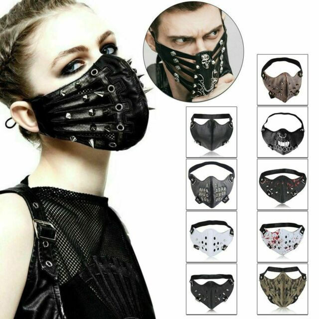 Motorcycle Winter Biker Skull Half Face Mask Steampunk for Halloween Sport