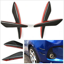 NEW 4 Pcs Car Auto Front Bumper 100% Carbon Fiber Fins Lip Kit Canards Splitters