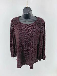 Adrianna Papell Women's Top Blouse Tunic Long Sleeve Scoop Neck Size Medium