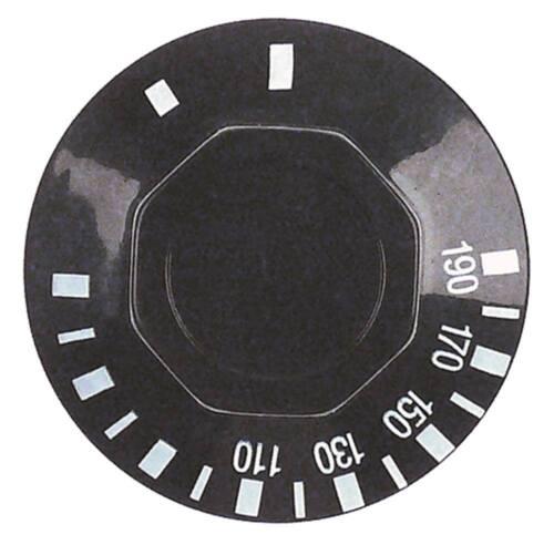 Knebel für Thermostat ø 50mm Symbol 50-190°C für Achse ø 6x4,6mm schwarz