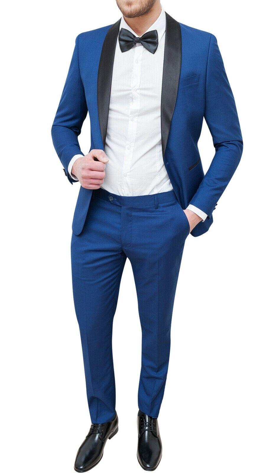 SUIT COMPLETE MAN SARTORIALE blueE LIGHT SLIM FIT TIGHT SMOKING da 42 a 58