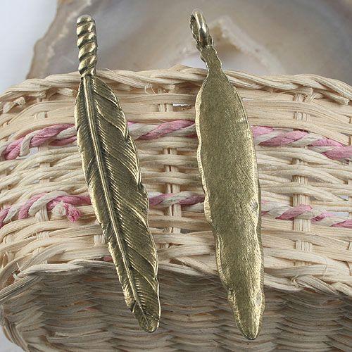 2pcs antiqued bronze feather design pendant charm G950