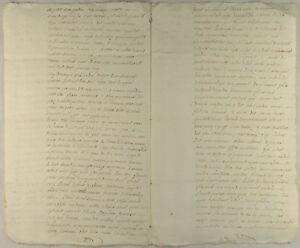 FRANKREICH-Original-Handschrift-1790-Doppelblatt-Kalligrafie-franzoesisch-France