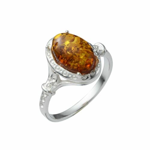 """Sterling Silver and Baltic Honey Amber Oval Ring /""""Ana/"""""""