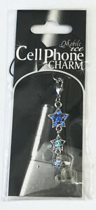 3 Blue Stars with Swarovski Crystals Purse Charm - Hangs from Bag or Purse 3.5cm