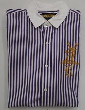 Rugby Ralph Lauren Purple Striped Contrast Collar Gold Deer Head Logo Shirt M