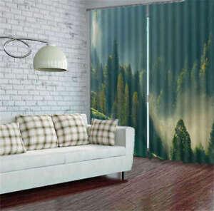 Montagne-Naturali-Verde-Foresta-3D-Tenda-Bloccare-Foto-Stampa-Tendaggio-Drappo