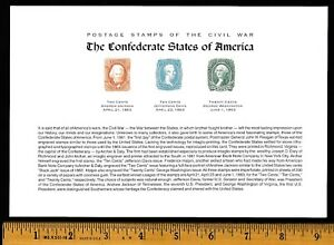 FLEETWOOD SOUVENIR SHEET CONFEDERATE STATES of AMERICA STAMP REPRODUCTIONS MINT