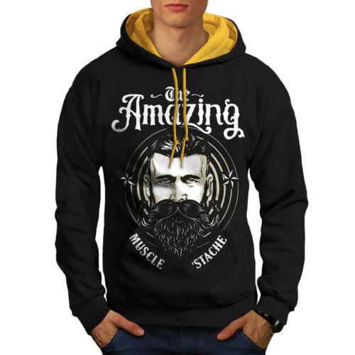 Men Hoodie Black Contrast Beard Vintage gold Hood New Amazing 7AxEwRq7